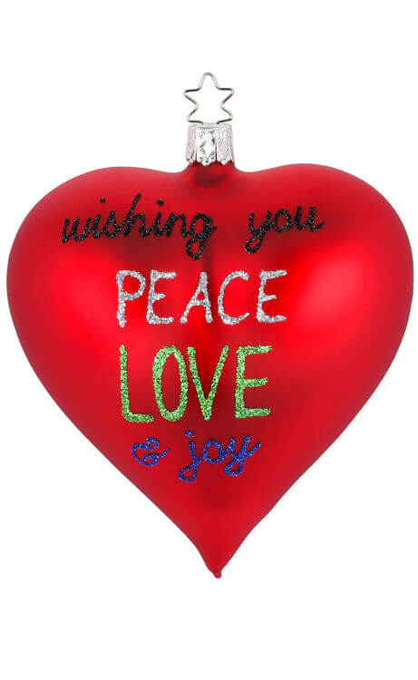 Heart, Peace, Love & Joy, red matt