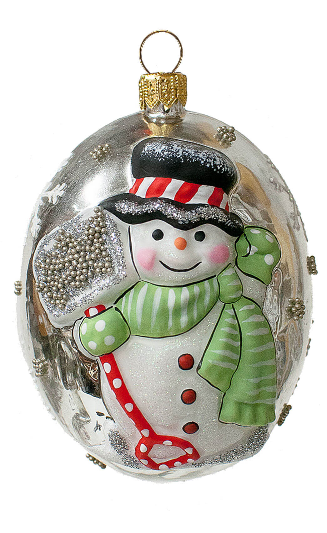 """Jingle Ball"" Silver Snowman with Shovel"