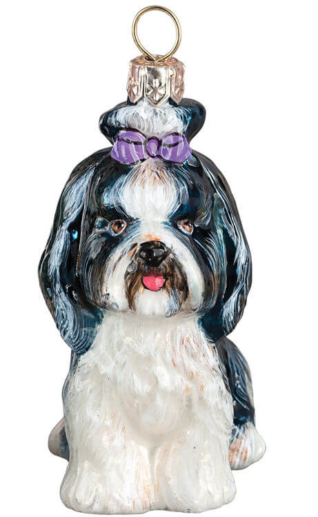 Shih Tzu Sitting W/ Top Knot Black and White