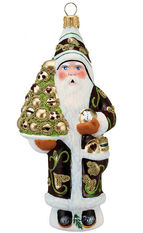 Santa With Gold Ornaments