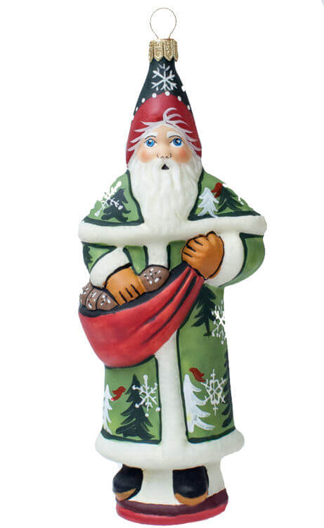 Forest Santa with Pinecones Ornament