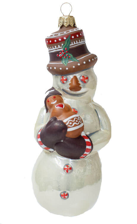 Pearlized Snowman with Gingerbread Ornament