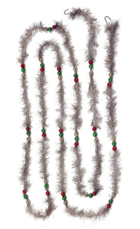 Vintage Silver Tinsel Garland w/Beads - 9'