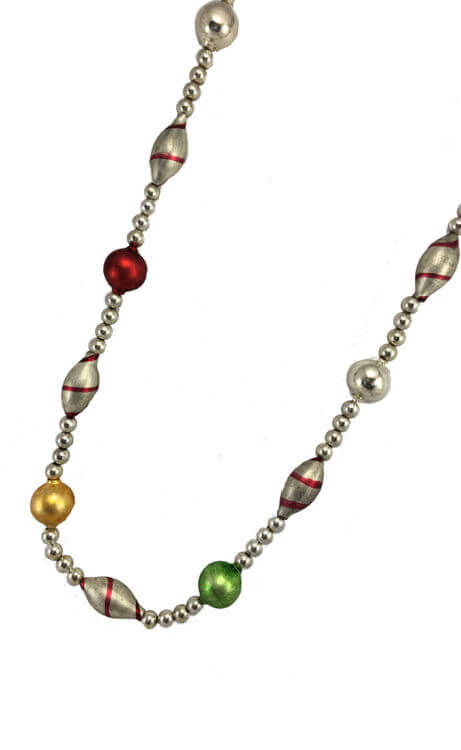 Red/Green/Silver Candy Stripe Beaded Garland - 6'