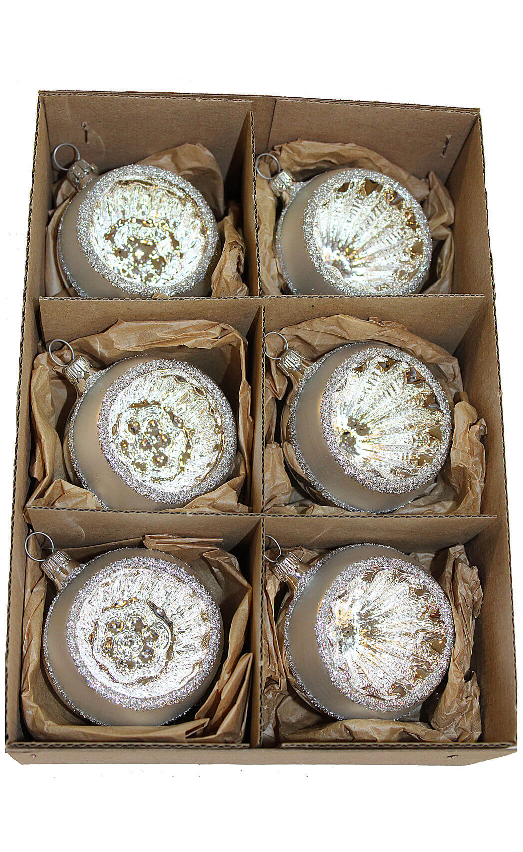 Silver Reflector Ball, 6 cm, 3 each 2 styles Box of 6