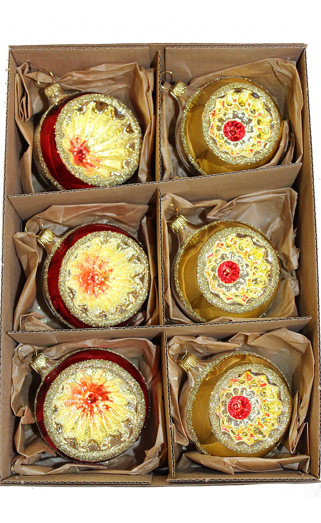Red and Gold Reflector Ball, 6 cm, 3 Each in Box of 6