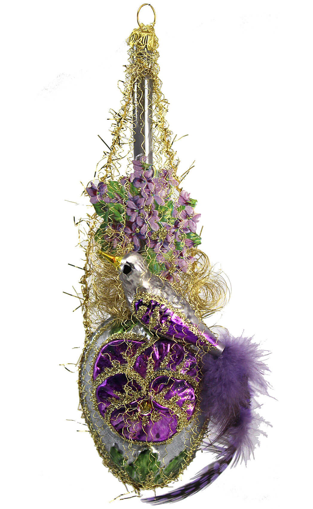Victorian Bird Above Violet and Silver Kugel
