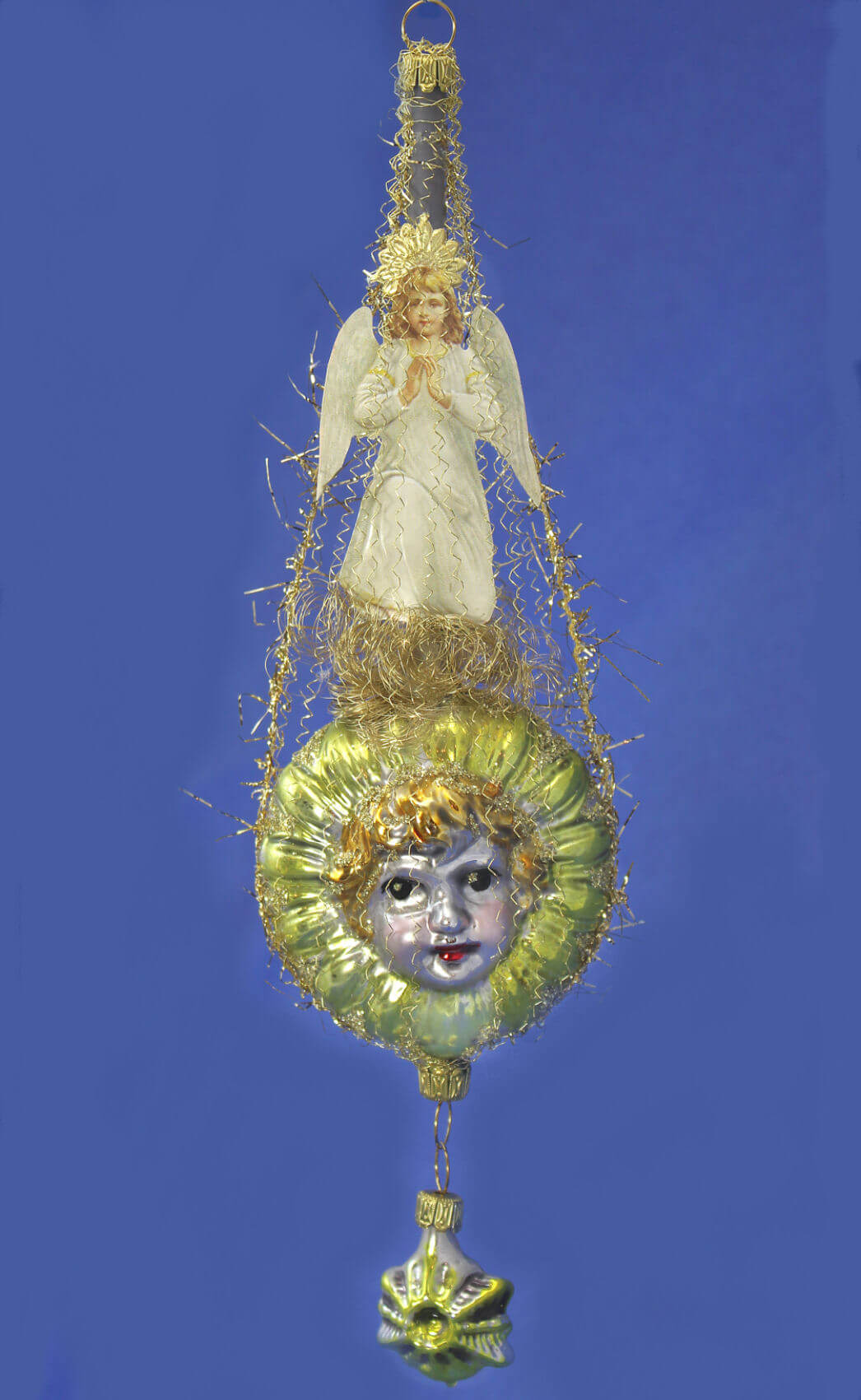 Victorian Angel In White Above Angel Face With Kugel