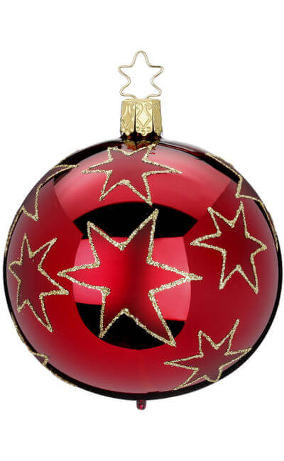 Ball 10 cm, Stars of Christmas, darkred shiny