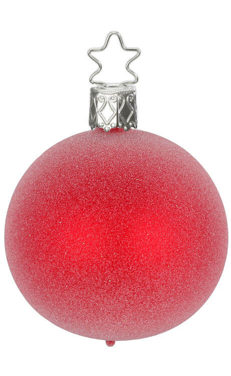 Ball 6 cm, Glitter Effects, red matt | Inge-Glas Ornaments, Authentic  German Christmas Ornaments