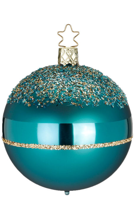 Ball Glitter Top 8cm Blue Green Matte