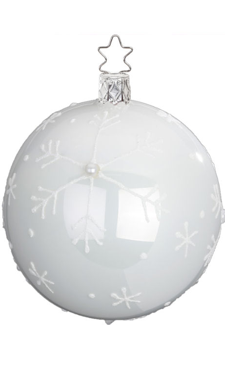 Ball Falling Snow 8cm Porcelain White Pearl