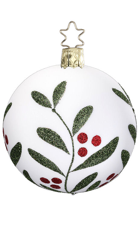 Ball Christmas Leaf 6cm Porcelain White Matte