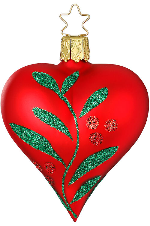 Heart Christmas Leaf Red Matte