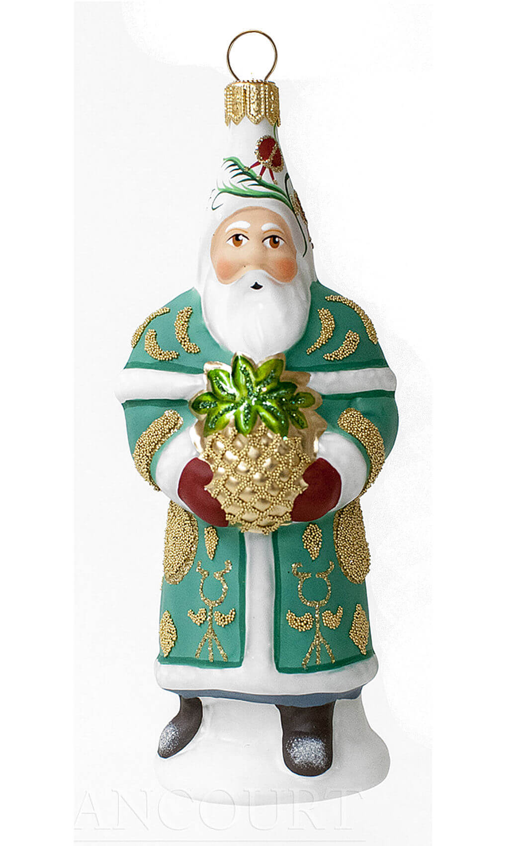 Floral Teal Santa with Pineapple Plaque