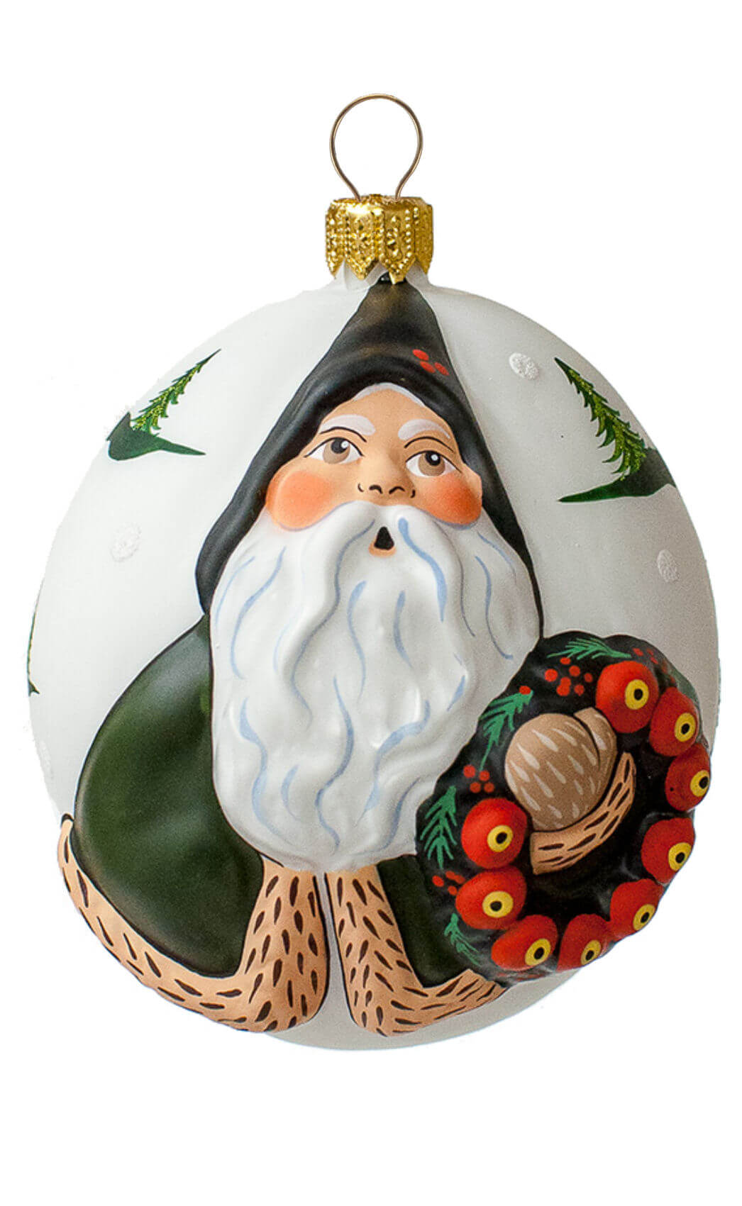 """Jingle Ball"" Green Santa with Wreath"
