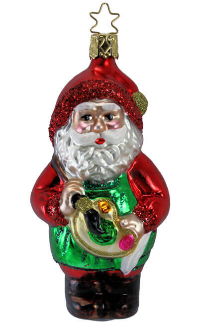 INGE GLAS SANTA CLAUS FACE GERMAN GLASS CHRISTMAS TREE ORNAMENT DECORATION