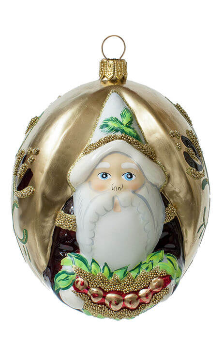 """Jingle Ball"" Santa On Gold With Wreath"