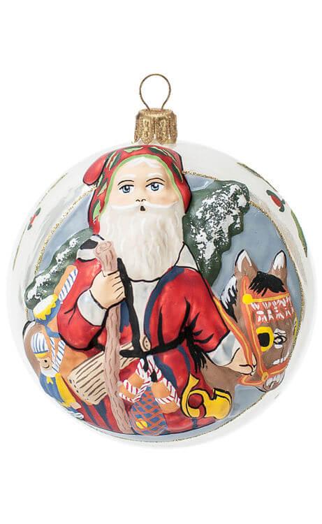 Donkey Christmas Ornaments.Jingle Ball Santa With Christmas Donkey Inge Glas Ornaments Authentic German Christmas Ornaments