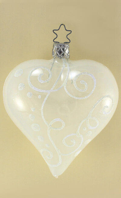 Heart White Opal Decoration, 8 cm