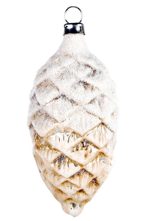 Cone with snowglitter, antique white