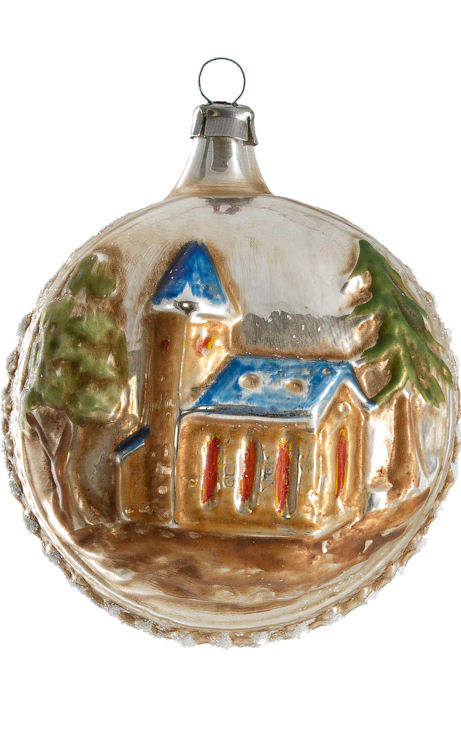 Ornaments with church (blue roof) and tree